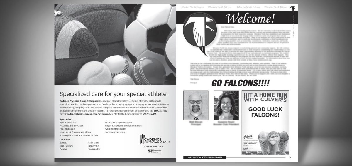 Pages 2 and 3 of a Spring 2015 Wheaton North High School Sports Program Graphic Design by Roselle Graphic Designer Controlled Color, Inc.