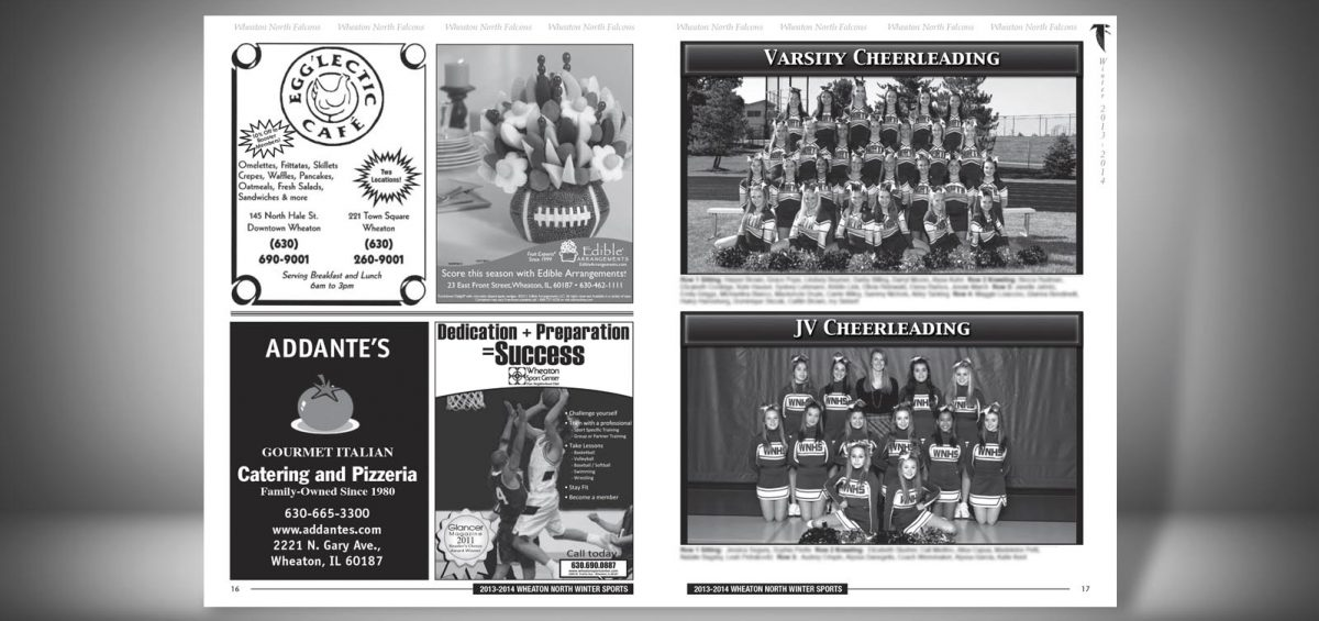 Pages 16 and 17 of a Winter 2013 Wheaton North High School Sports Program Graphic Design by Roselle Graphic Designer Controlled Color, Inc.