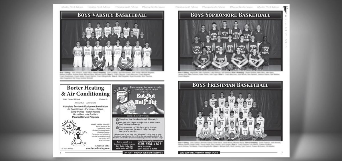 Pages 6 and 7 of a Winter 2013 Wheaton North High School Sports Program Graphic Design by Roselle Graphic Designer Controlled Color, Inc.