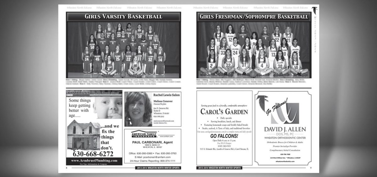 Pages 8 and 9 of a Winter 2013 Wheaton North High School Sports Program Graphic Design by Roselle Graphic Designer Controlled Color, Inc.