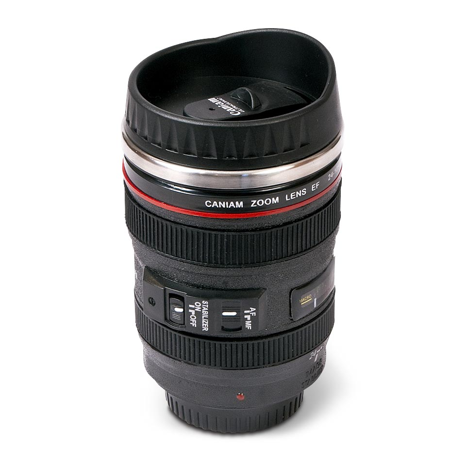 Camera Lens coffee cup, product photography by Roselle Product photographer Controlled Color, Inc.