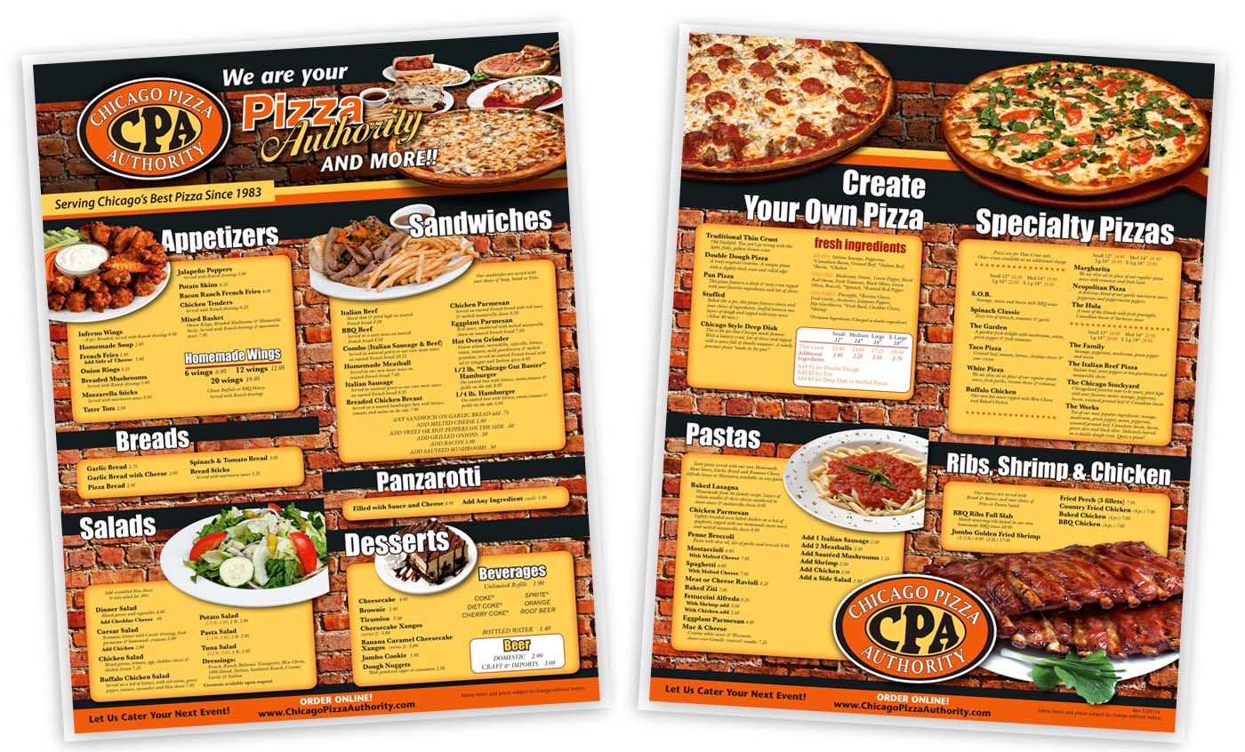Roselle Dine-In Menu Printing from Roselle Printer Controlled Color, Inc.