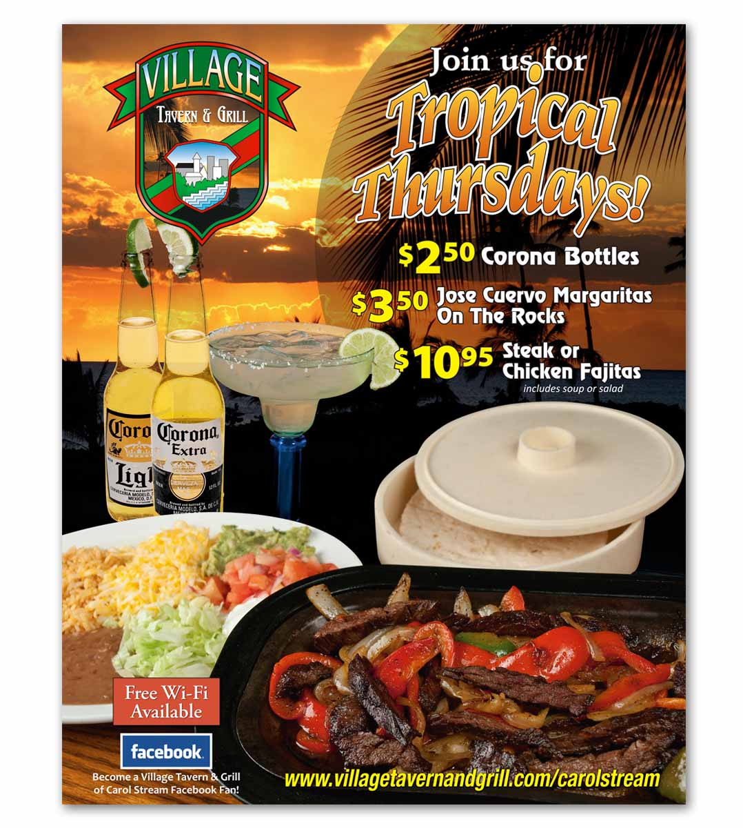 Composite image - fajitas on the beach, from Roselle Graphic Designer Controlled Color, Inc.