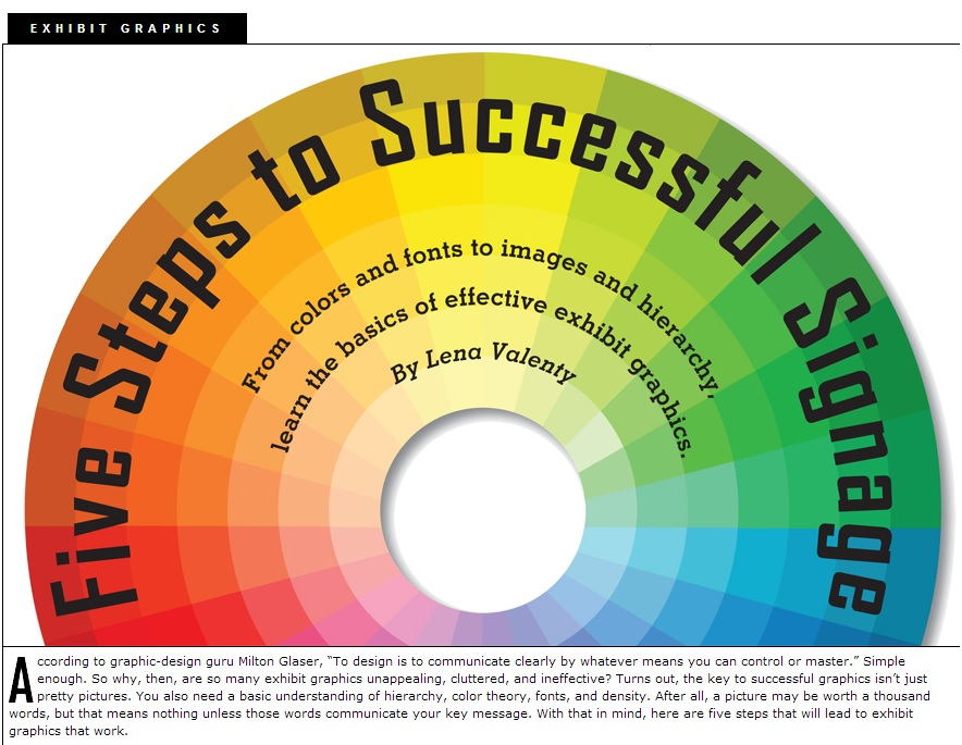 Graphic that depicts the design elements of successful signage, elements used by the skilled Chicago graphic designer Controlled Color, Inc.