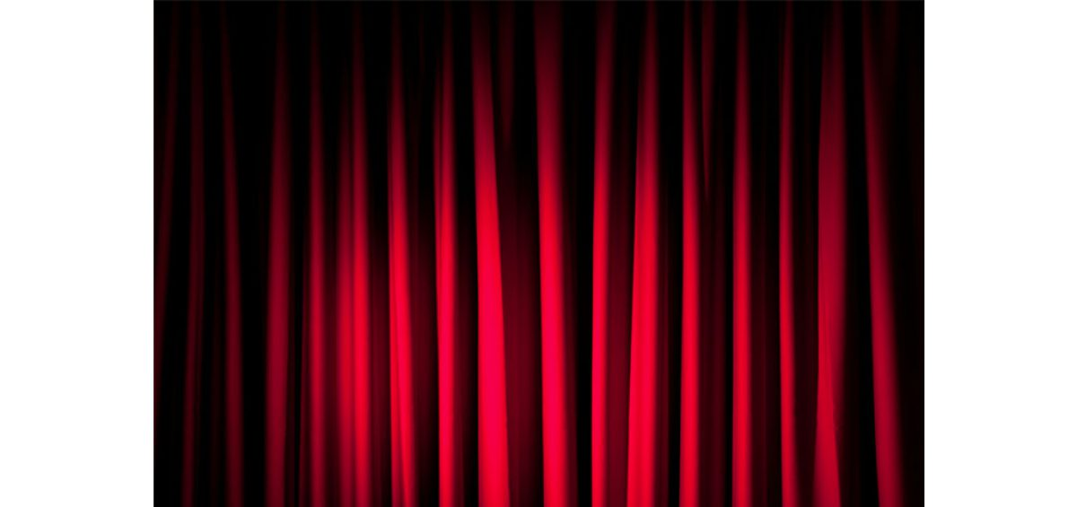 A stock photo of a red curtain, modified and used in a composite image for Rosati's, created by Roselle Premedia company Controlled Color, Inc.