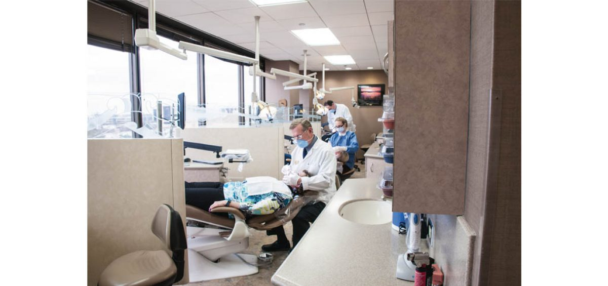 An orthodontist office photo, on-location photography used for a composite image for a promotional ad for ASK, created by Roselle Premedia company Controlled Color, Inc.