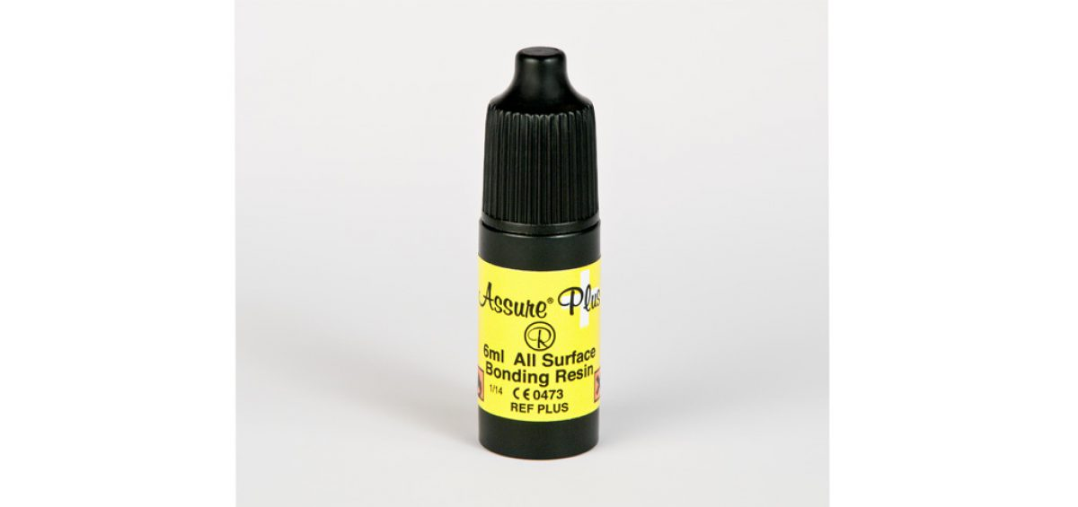 A picture of a bottle of Assure Plus, bonding resin photographed by product Photographer Controlled Color, Inc.