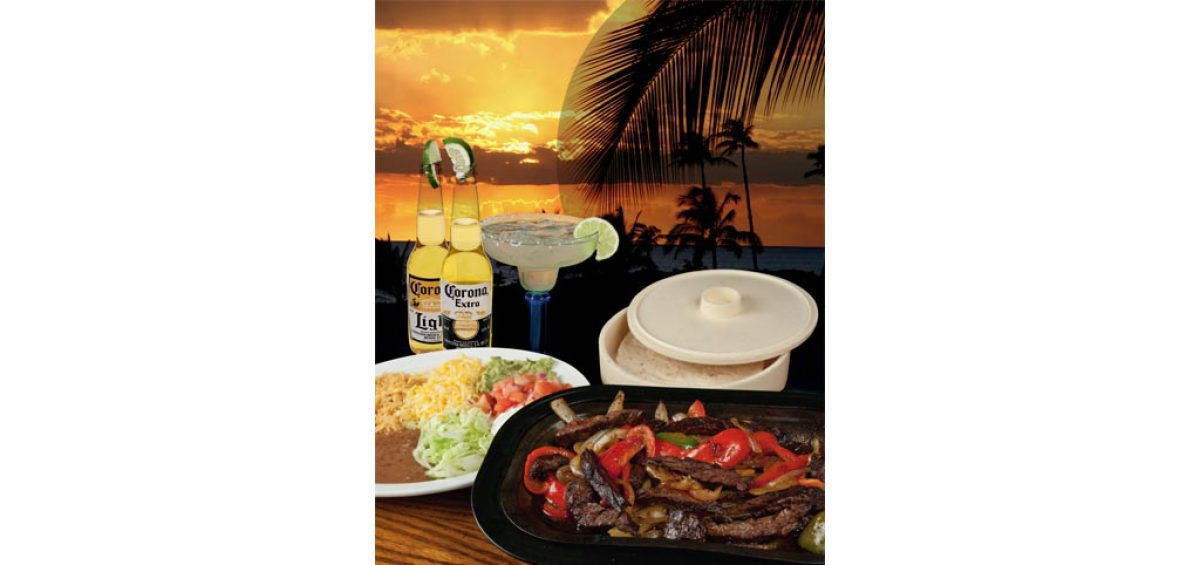 Final assembled composite image of Fajitas On A Beach, without text. Used on a Tropical Thursday promotion created by Roselle Premedia company Controlled Color, Inc.
