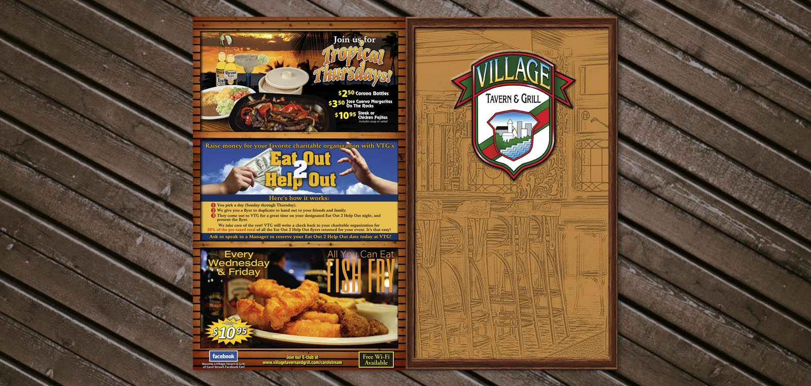 Dine In Menu Cover Graphic Design from Roselle Graphic Designer Controlled Color, Inc.