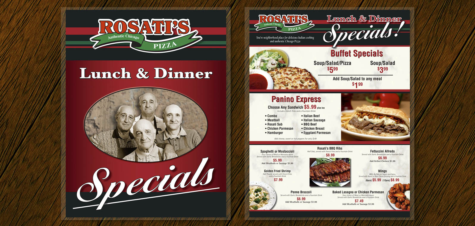 Dine In Lunch and Dinner Menu Graphic Design from Roselle Graphic Designer Controlled Color, Inc.