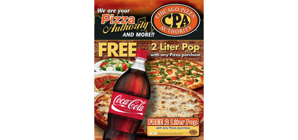 Final assembled Box Topper design for Chicago Pizza Authority, using a composite image created and designed by Roselle Premedia company Controlled Color, Inc.