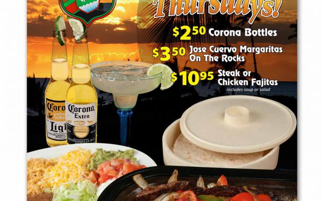 Final assembled composite image of Fajitas On A Beach, A Tropical Thursday promotion created by Roselle Premedia company Controlled Color, Inc.