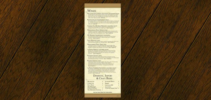 Beer & Wine List Graphic Design from Roselle Graphic Designer Controlled Color, Inc.