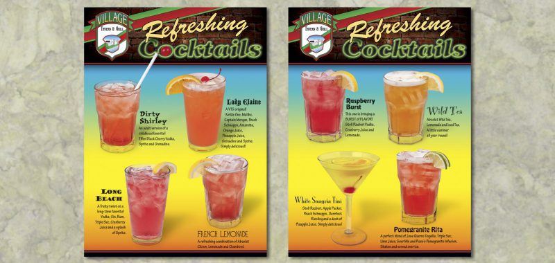 Cocktail table tent design from Roselle Graphic Designer Controlled Color, Inc.