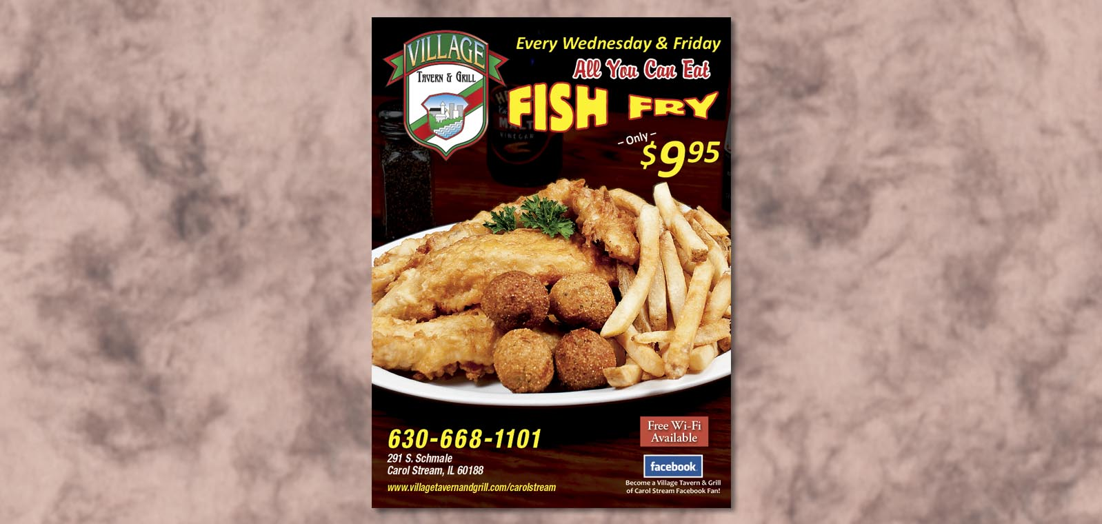 Fish fry table tent designvillage tavern grill for Doug s fish fry