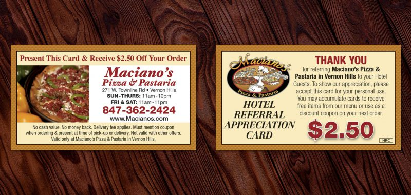 Hotel Referral Appreciation Card Design from Roselle Graphic Designer Controlled Color, Inc.