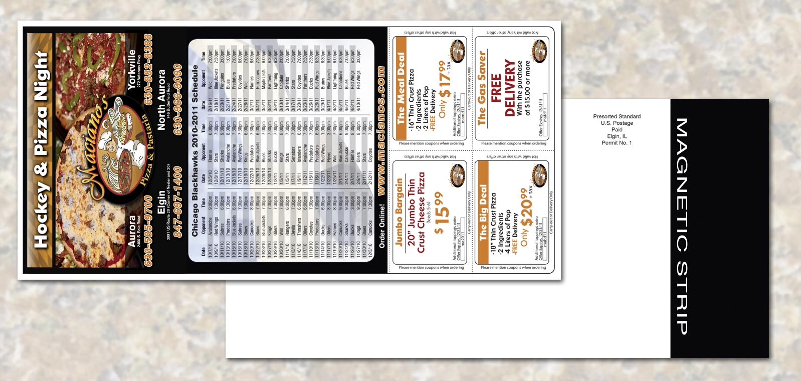 Magnetic Postcard Graphic Design for Macianos Pizza and Pastaria by Roselle Graphic Designer Controlled Color, Inc.