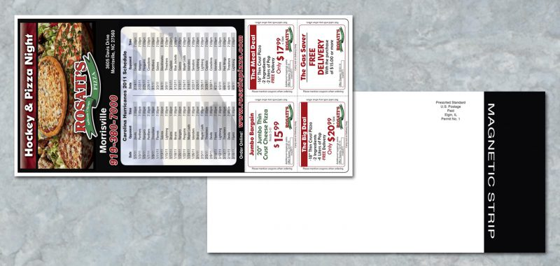 Magnetic Postcard Graphic Design for Rosatis Pizza by Roselle Graphic Designer Controlled Color, Inc.
