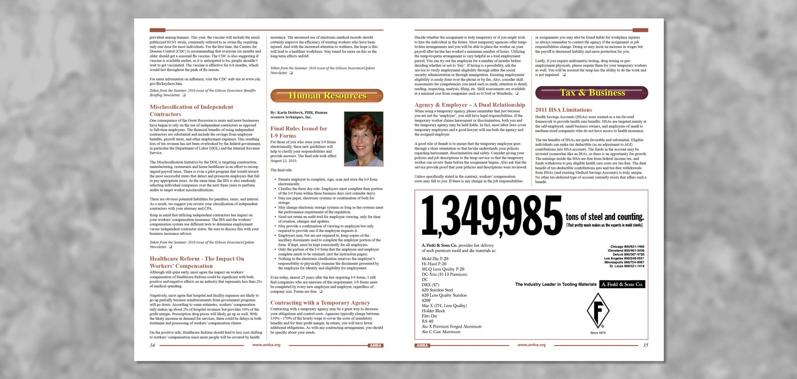 Newsletter Design Fall 2010The American Mold Builder Association