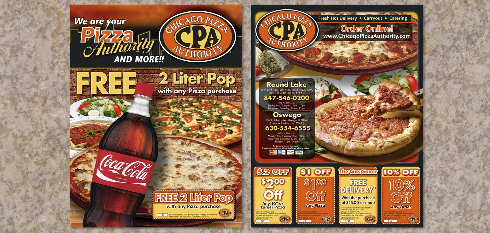 Pizza Box Topper Graphic Design for Chicago Pizza Authority by Roselle Graphic Designer Controlled Color, Inc.