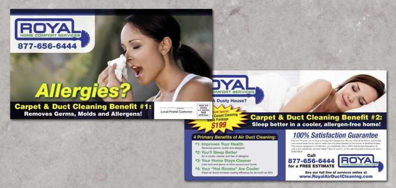 EDDM Postcard Graphic Design for Royal Air Duct Cleaning by Roselle Graphic Designer Controlled Color, Inc.