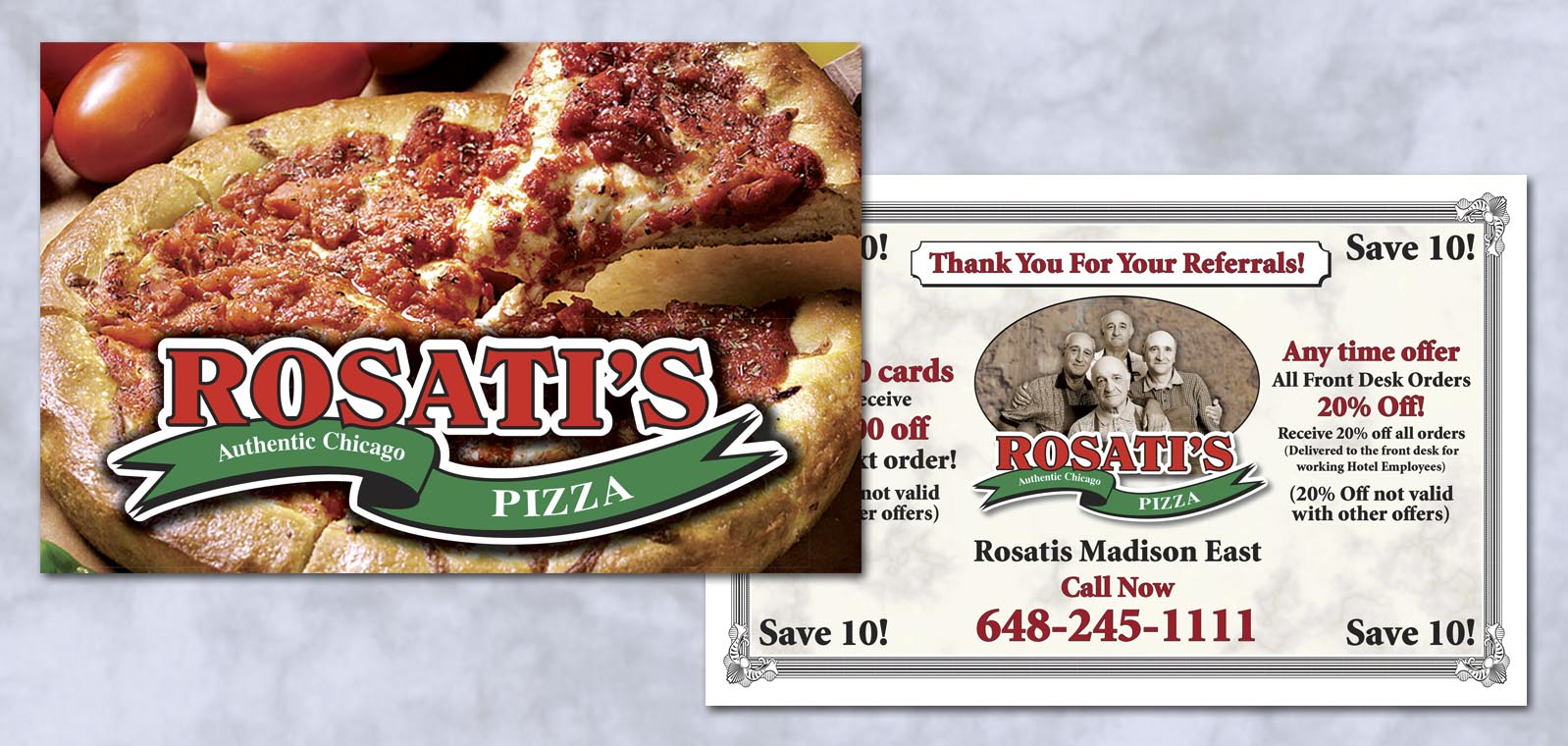 Postcard Graphic Design for Rosatis Pizza by Roselle Graphic Designer Controlled Color, Inc.