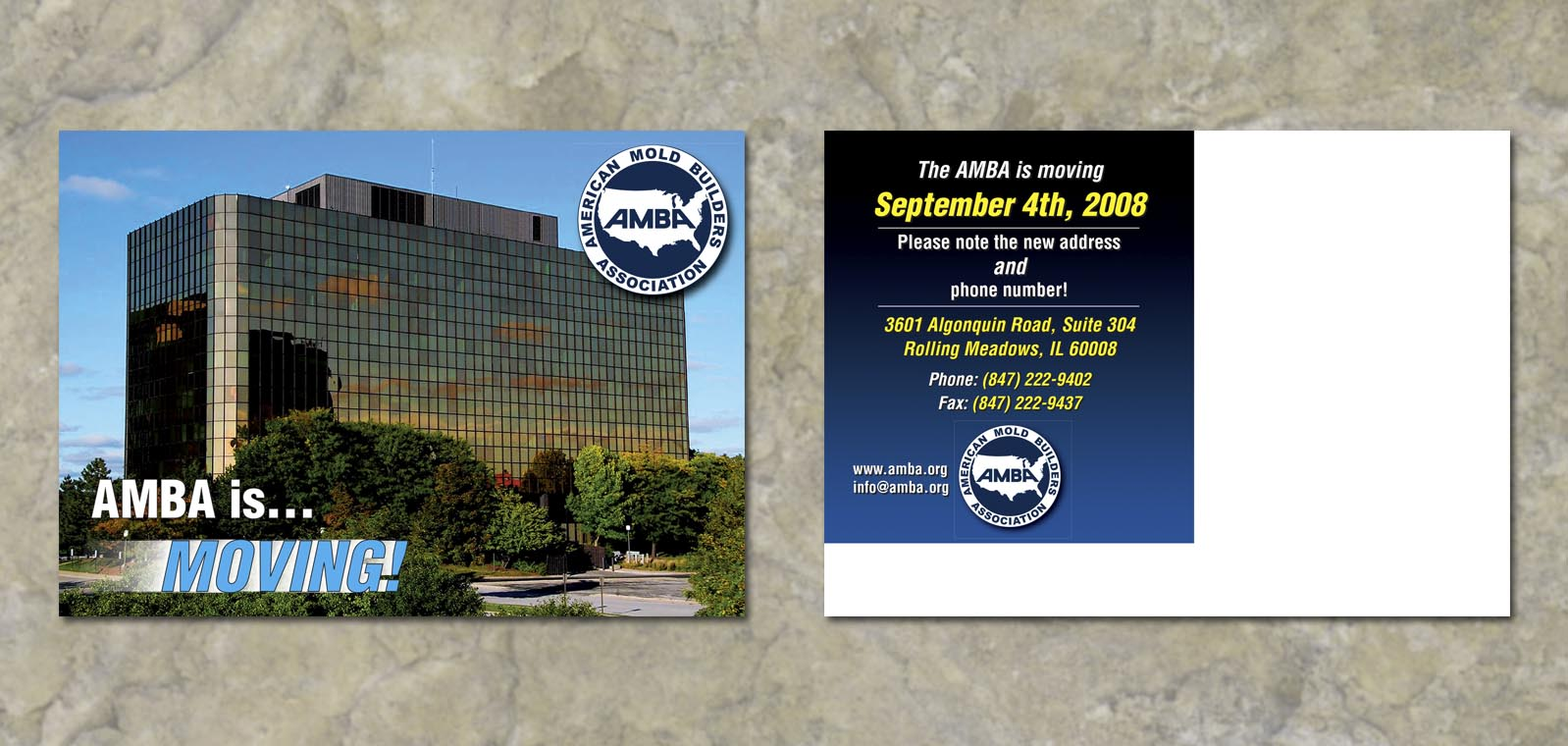 Postcard Graphic Design for AMBA by Roselle Graphic Designer Controlled Color, Inc.