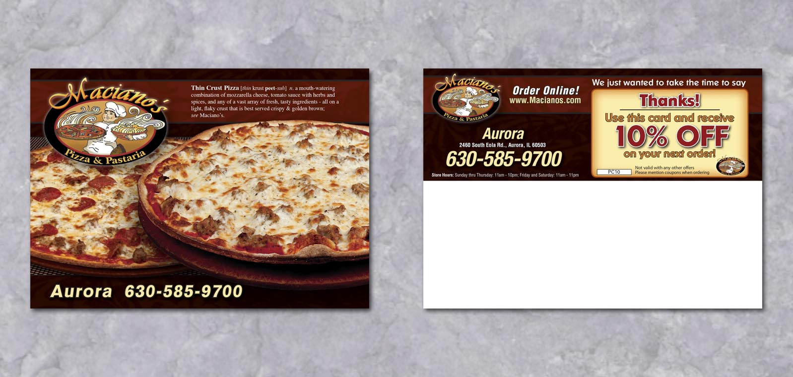Postcard Graphic Design for Macianos Pizza and Pastaria by Roselle Graphic Designer Controlled Color, Inc.