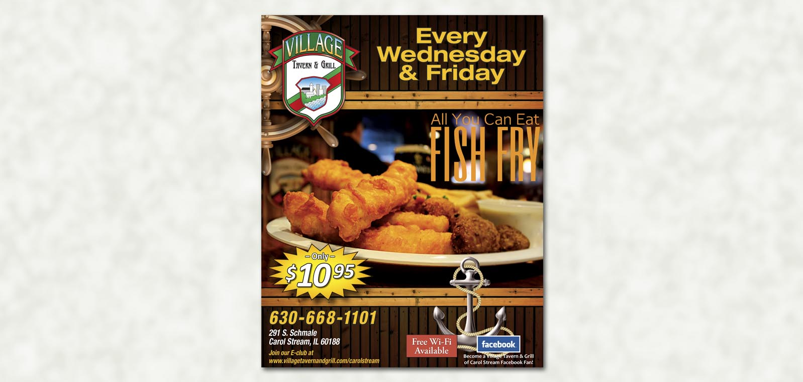 Poster design fish fry 2 village tavern grill for Doug s fish fry