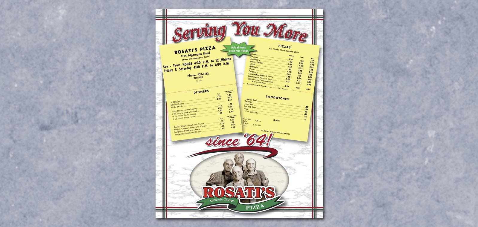 Poster Graphic Design for Rosati's Pizza, by Roselle Graphic Designer Controlled Color, Inc.