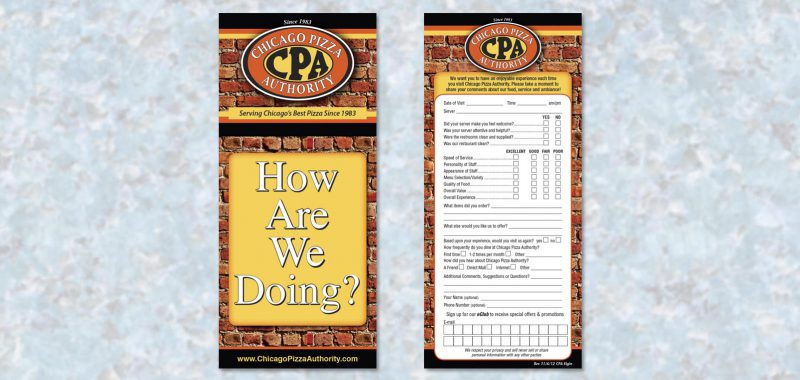 Comment Card Graphic Design for Chicago Pizza Authority, by Roselle Graphic Designer Controlled Color, Inc.
