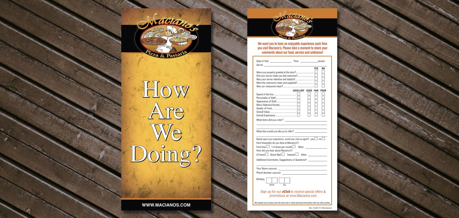 Comment Card Graphic Design for Maciano's Pizza & Pastaria, by Roselle Graphic Designer Controlled Color, Inc.
