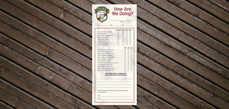 Comment Card Graphic Design for Village Tavern & Grill, by Roselle Graphic Designer Controlled Color, Inc.