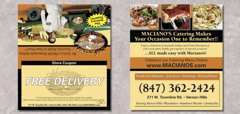 Tent Card Graphic Design for Maciano's Pizza & Pastaria, by Roselle Graphic Designer Controlled Color, Inc.
