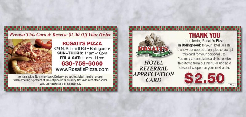 Hotel Card Graphic Design for Rosati's Pizza, by Roselle Graphic Designer Controlled Color, Inc.
