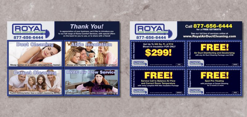 Leave Behind Card Graphic Design for Royal Air Duct Cleaning, by Roselle Graphic Designer Controlled Color, Inc.