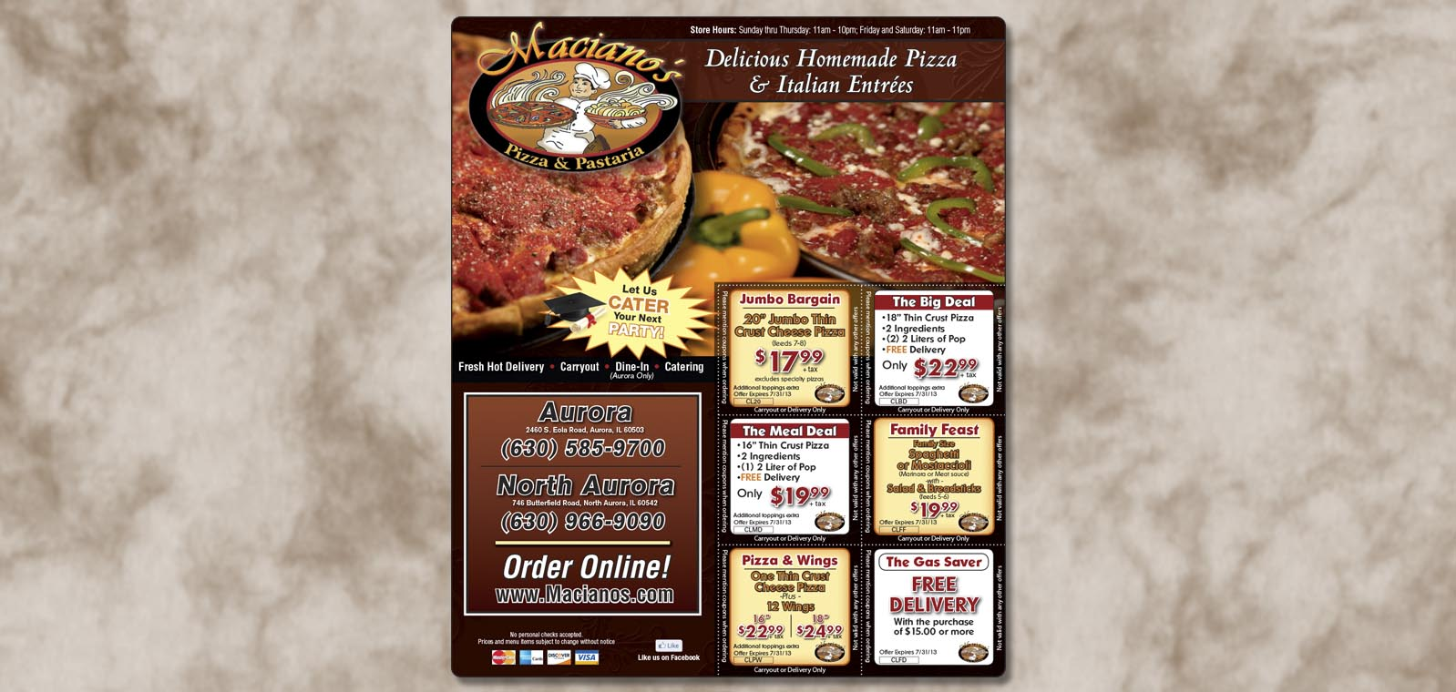 Publication Ad Graphic Design for Maciano's Pizza and Pastaria, by Roselle Graphic Designer Controlled Color, Inc.