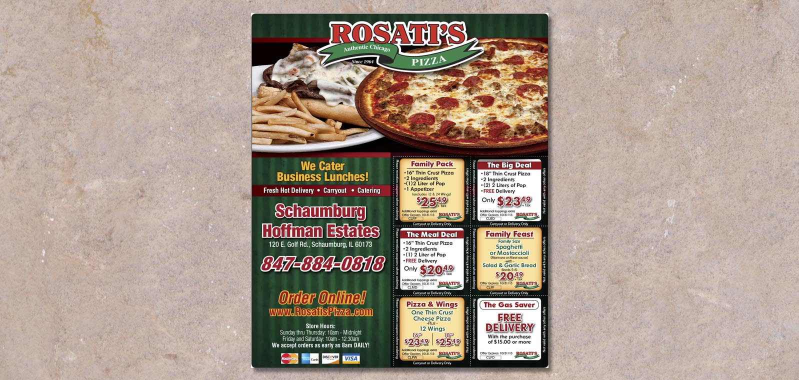 Publication Ad Graphic Design for Rosati's Pizza, by Roselle Graphic Designer Controlled Color, Inc.