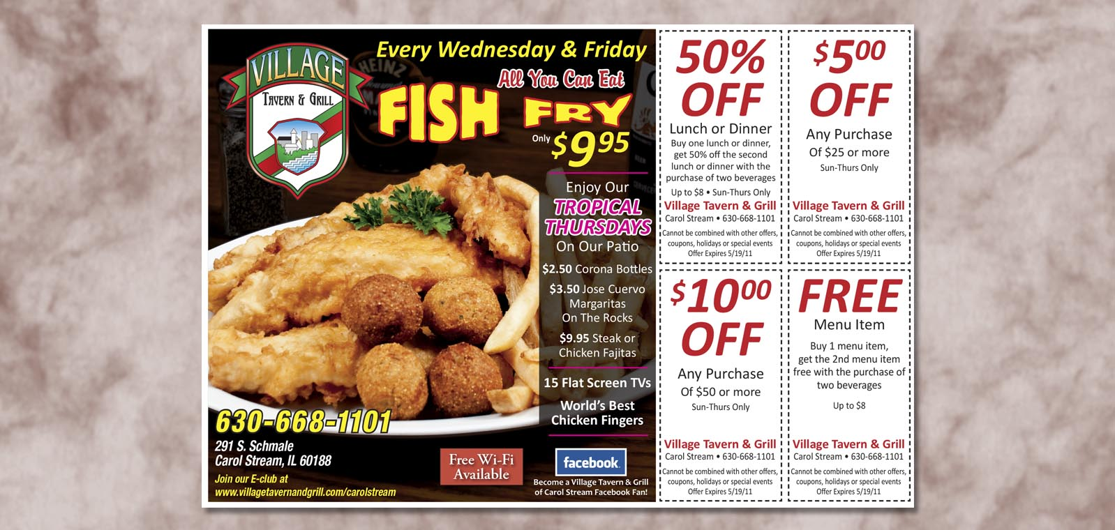 Publication Ad Graphic Design for Village Tavern & Grill, by Roselle Graphic Designer Controlled Color, Inc.