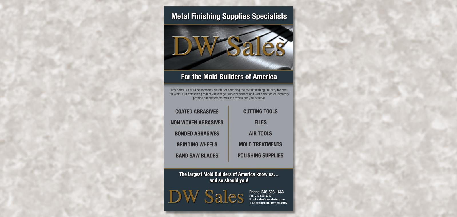 Publication Ad Graphic Design for the American Mold Builder Association, by Roselle Graphic Designer Controlled Color, Inc.