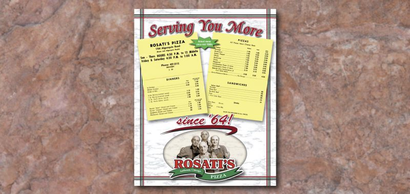 Signage Graphic Design for Rosati's Pizza, by Roselle Graphic Designer Controlled Color, Inc.