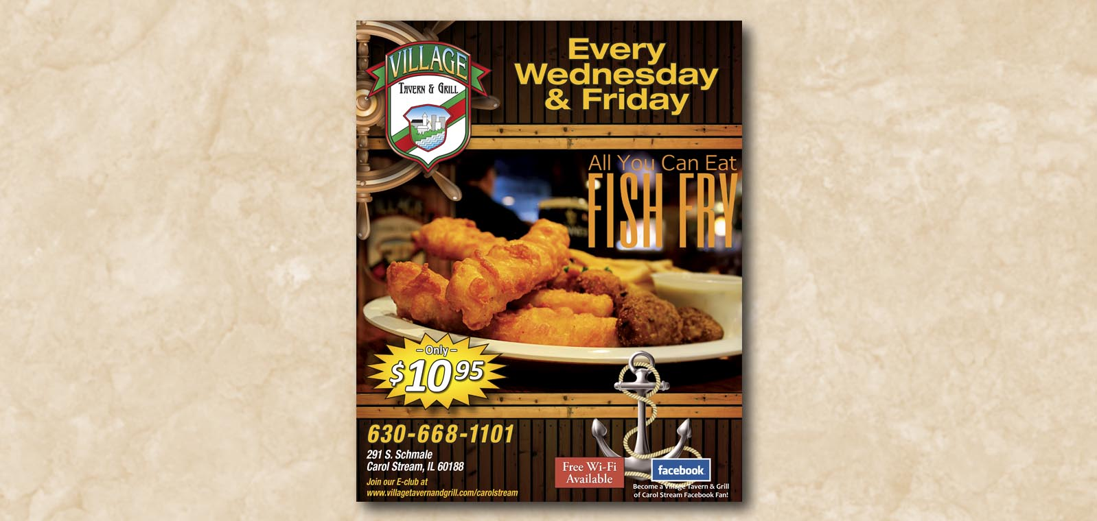 Signage Graphic Design for Village Tavern & Grill, by Roselle Graphic Designer Controlled Color, Inc.