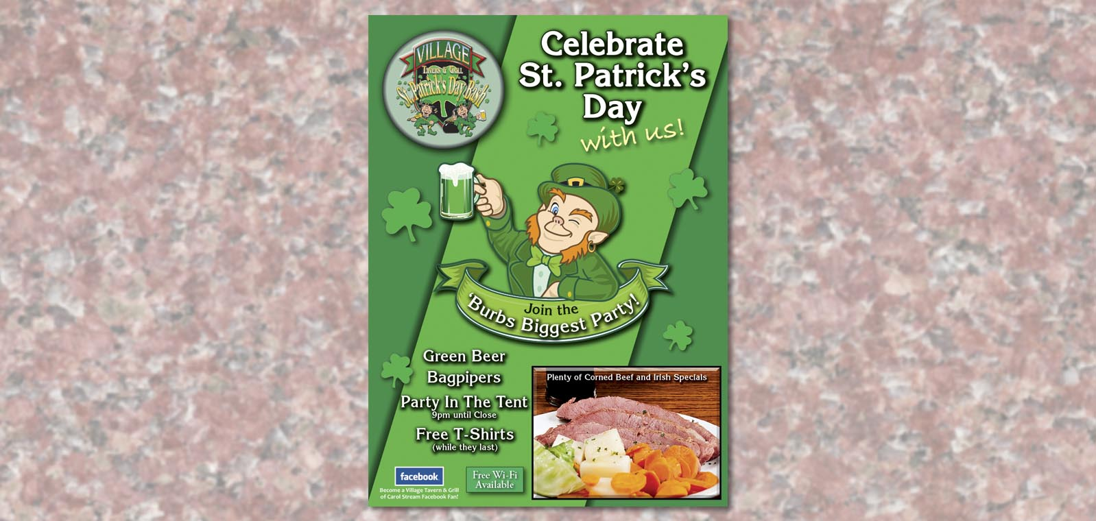 St. Patrick's Day table tent design from Roselle Graphic Designer Controlled Color, Inc.