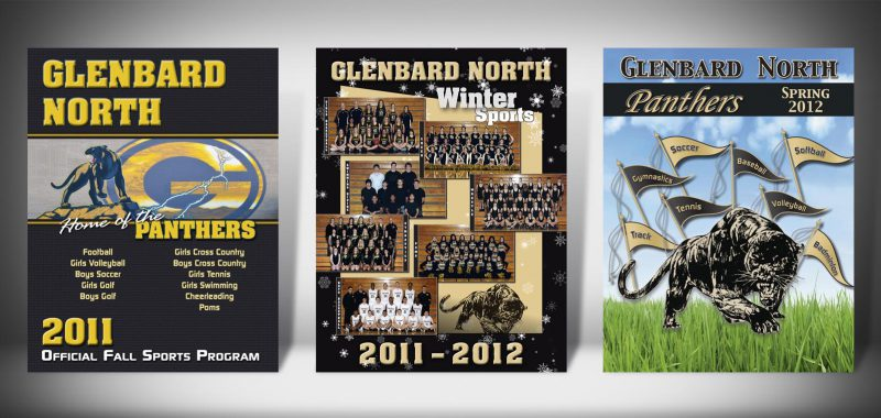 The Front Covers for the 2011-2012 Glenbard North High School Sports Program Graphic Design by Roselle Graphic Designer Controlled Color, Inc.
