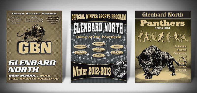 The Front Covers for the 2012-2013 Glenbard North High School Sports Program Graphic Design by Roselle Graphic Designer Controlled Color, Inc.