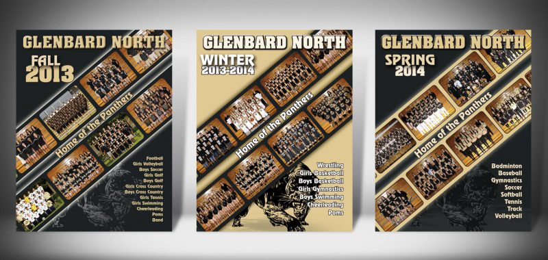 The Front Covers for the 2013-2014 Glenbard North High School Sports Program Graphic Design by Roselle Graphic Designer Controlled Color, Inc.