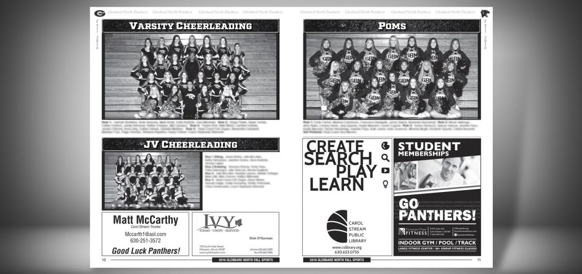 Pages 10 and 11 of a Fall 2016 Glenbard North High School Sports Program Graphic Design by Roselle Graphic Designer Controlled Color, Inc.