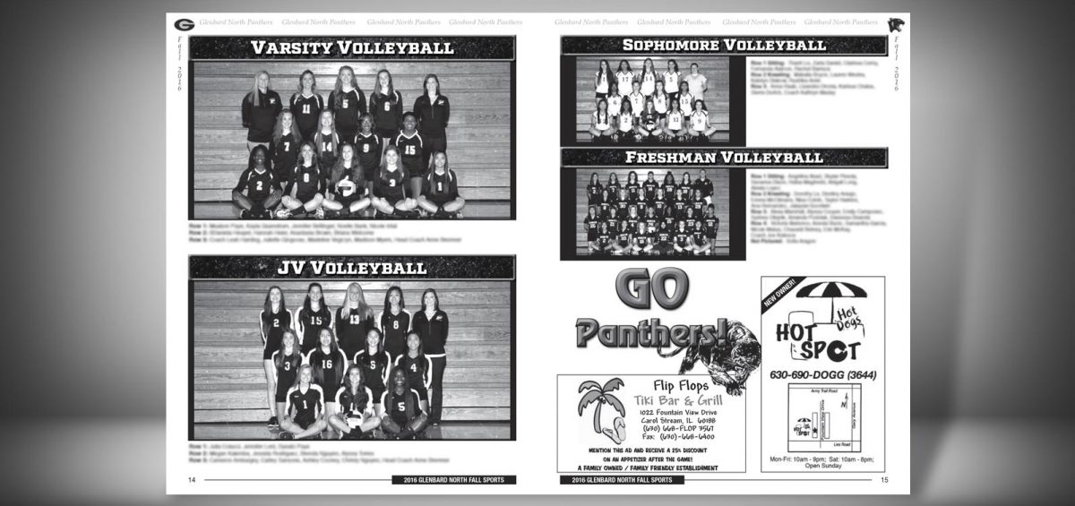 Pages 14 and 15 of a Fall 2016 Glenbard North High School Sports Program Graphic Design by Roselle Graphic Designer Controlled Color, Inc.