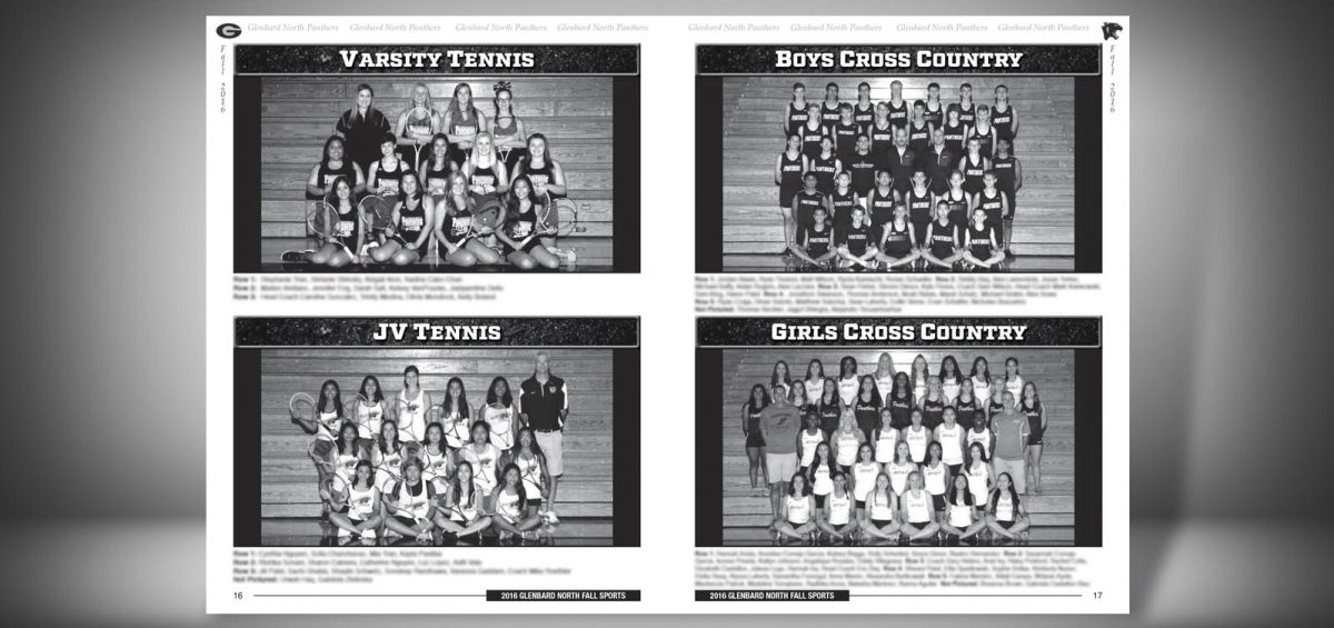 Pages 16 and 17 of a Fall 2016 Glenbard North High School Sports Program Graphic Design by Roselle Graphic Designer Controlled Color, Inc.
