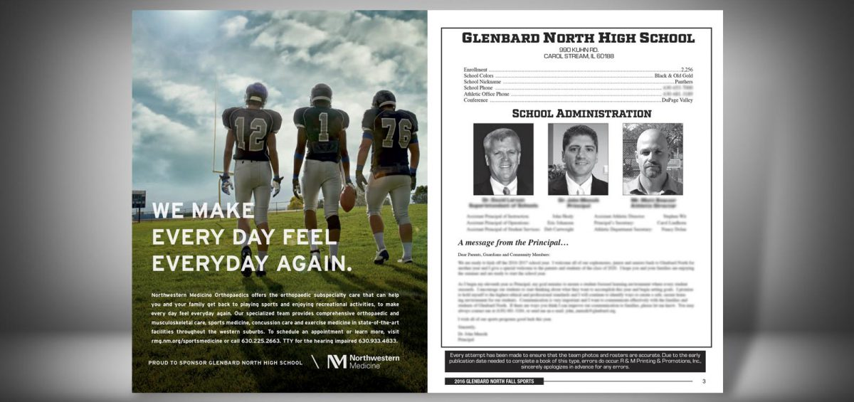 Pages 2 and 3 of a Fall 2016 Glenbard North High School Sports Program Graphic Design by Roselle Graphic Designer Controlled Color, Inc.